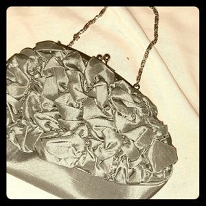 Gray Ruffled evening purse with chain strap